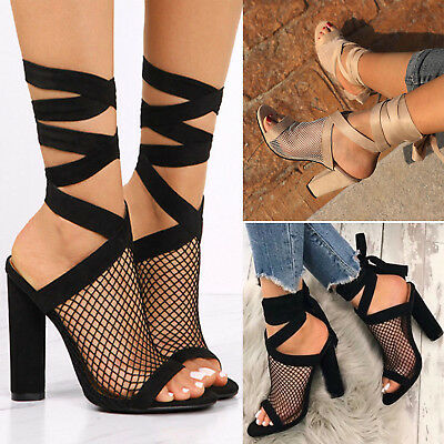 Womens High Heel Shoes Strap Ankle Mesh OpenToe Lace Up Peep Summer Beach Shoes
