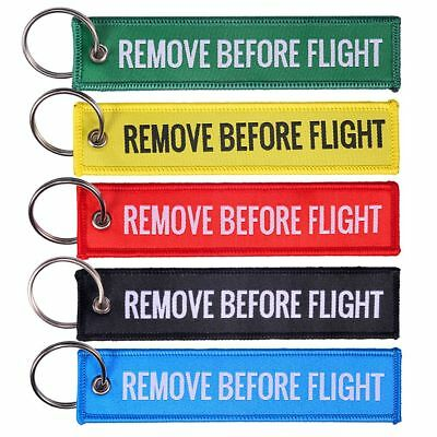 Remove Before Flight Embroidered Canvas Luggage Tag Label Key Chain