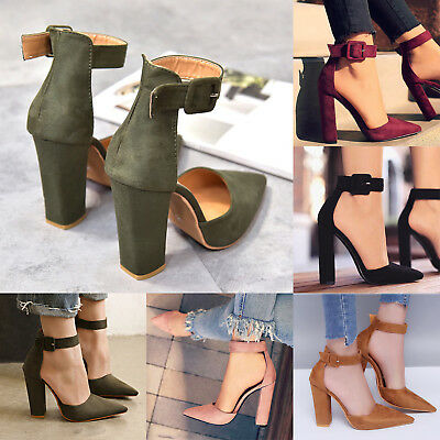Women's  Block High Heel Shoes Summer Sandals Ankle Strappy Pointed Toe Pumps