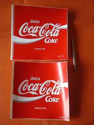 Vintage lot of 2 large Portuguese COCA COLA stickers