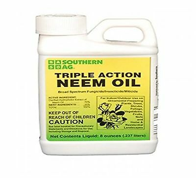 Triple Action Neem Oil Fungicide Insecticide Miticide Concentrate Organic 8 Oz