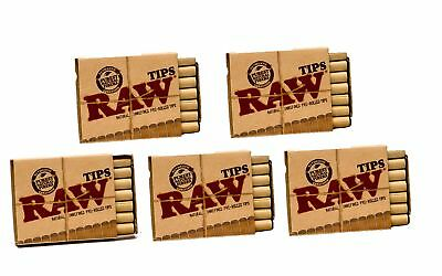 Raw Natural Unrefined Pre Rolled Filter Tips 5 Pack 21 Per Box Rolls Matchbox