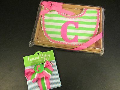 """Mud Pie Initial """"C"""" Bib and Matching Pacifier Clip, Pink and Green, NWT"""