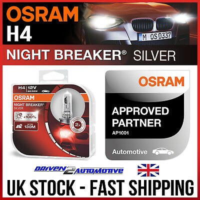 2x H4 OSRAM NIGHT BREAKER LASER BULBS FOR NISSAN NAVARA D40 2.5 dCi 4WD 10.06
