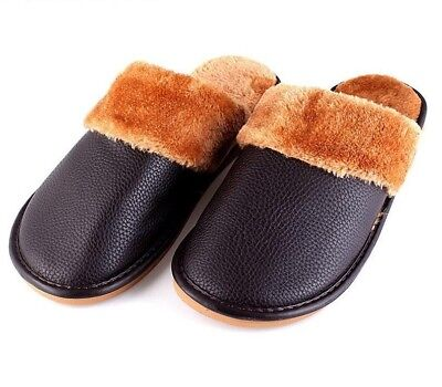 Winter Men Slippers  Warm Comfortable Indoor Plush  Home PU Rubber Soft Shoes