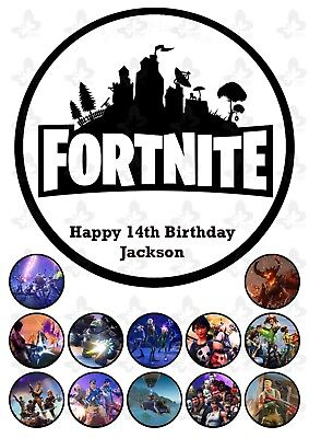 Fortnite Edible Cake Image Topper PERSONALISED + 12 extra cupcake Toppers V3