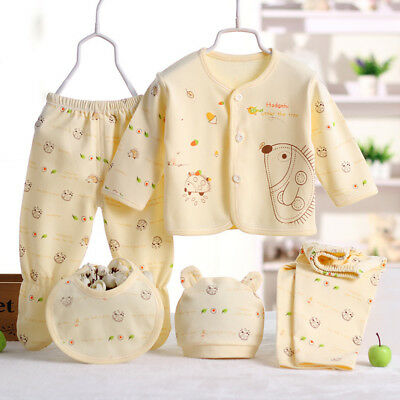 Newborn Boys Girls Organic Cotton Baby Clothing Soft Outfit Sets 5PCS/Set