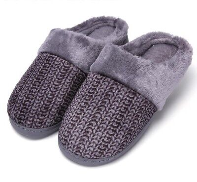 Winter Men Slippers Striped Cotton Warm Plush Fur Soft Indoor Shoes Flat Home