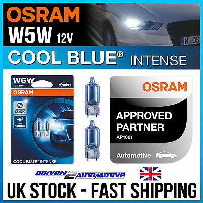 2 x OSRAM W5W, 501, T10 COOL BLUE INTENSE SIDELIGHT PARKING LIGHT BULBS UPGRADE