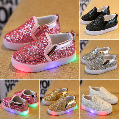 Kids Flash LED Light Up  Boys Girls Trainers Luminous Sneaker Infant Shoes Gift
