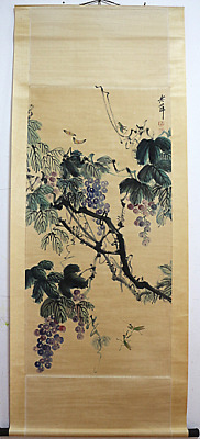 RARE Chinese 100%  Handed Painting & Scroll Grape By Qi Baishi 齐白石 葡萄M13