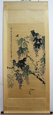 RARE Chinese 100%  Handed Painting & Scroll Grape By Qi Baishi 齐白石 葡萄O15