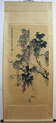 RARE Chinese 100%  Handed Painting & Scroll Grape By Qi Baishi 齐白石 葡萄P16