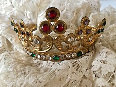 OMG Stunning 19th Century French Statue Crown Tiera Chrystal Jewels Rubies Gilt