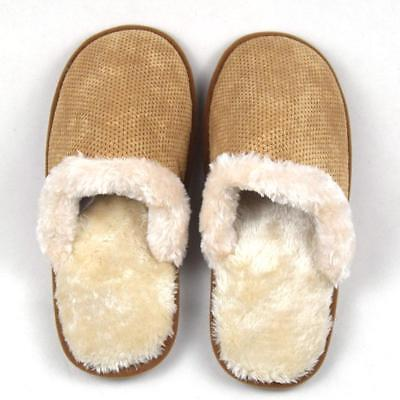Autumn Winter Men Slippers Non-slip Cotton Plush Home Indoor Warm Flat Shoes
