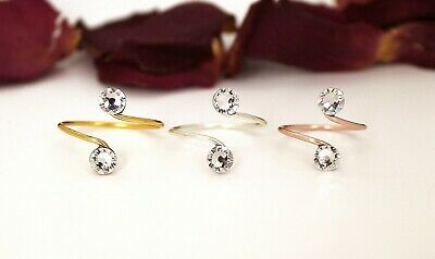 Adjustable Toe Rings-Choose Your Finish-With Clear Swarovski Crystal Elements