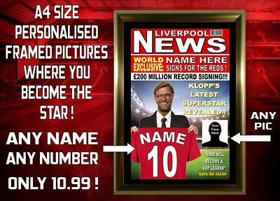 Liverpool Fans - Personalised & Framed A4 Print - Any Name, Number, & Picture !