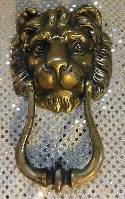 Antique Brass Lion Head Door Knocker - Peerage - Made in England Incredible Cond