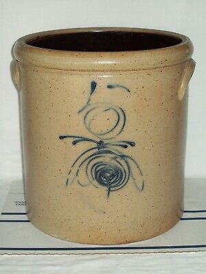 """Rare ~ """"ANTIQUE"""" ~ #5 BEE STING STONEWARE CROCK ~ SALT GLAZED POTTERY ~ RED WING"""