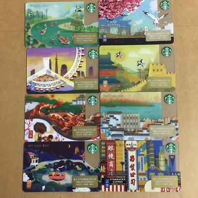 2018 lots of Starbucks China 8 City Gift Card Pin Intact