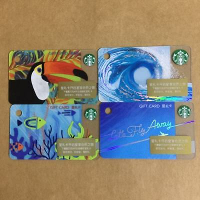 4pcs Lots of Starbucks China 2018 mini Gift Card Pin intact