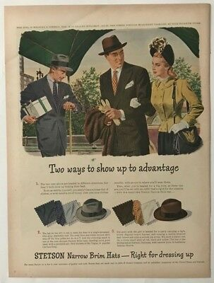Vintage Original 1946 STETSON HATS Print Ad Advertisement