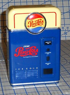 Classic Plastic Pepsi Cola Vending Machine Coin Sorting Bank VG