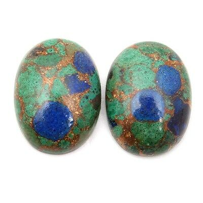 Lovely AZURITE Copper Mohave 16x12 mm Cabochon Oval Pair Gemstone 17 Cts s-28985