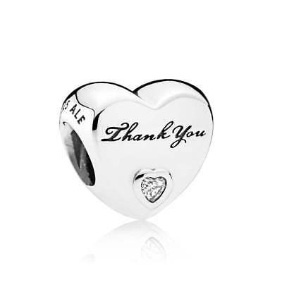 New Authentic Genuine Pandora Stering Silver Thank You Charm - 792096CZ