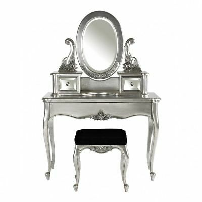 LOUIS SILVER DRESSING TABLE SET 3PCS - FRENCH BEDROOM - In Stock