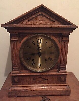 "W & H Sch Winterhaler & Hofmeier Oak Case  Striking Mantle Clock GWO 16""H"