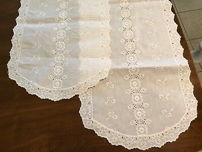 "2 VTG Table Runner Dresser Scarf White Eyelet Lace Floral 49"" x 15"" Oval Scallop"