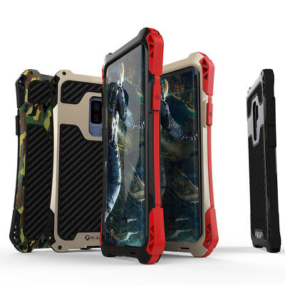 Metal Bumper Carbon Fiber Waterproof Case Cover For Samsung Galaxy Phone S9 Plus