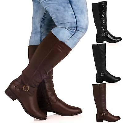 R9E Ladies Womens Extra Wide Calf Stretch Mid Calf Under Knee Casual Boots Size