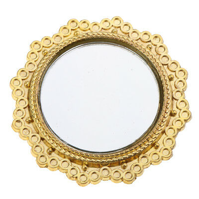 Gold Metal Frame Mirror Miniature Furniture for 1/12 Dollhouse Decor Accs