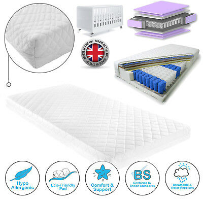 BABY COT BED TODDLER QUILTED MATTRESS COT BED POCKET SPRUNG MATTRESS 120 x 60cm