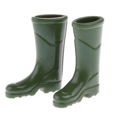 1:12 Scale Dolls House Miniature Accessories Green Rubber Rain Boots Shoes