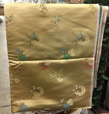 "Gold Chinese Brocade Silk Fabric Made In HONG KONG ZENG KEE 140""-L X 30""-W BTY"