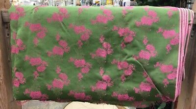 """Green And Coral Brocade Silk Fabric 184""""-L X 42""""-W Sold BTY 5 Yards Available"""