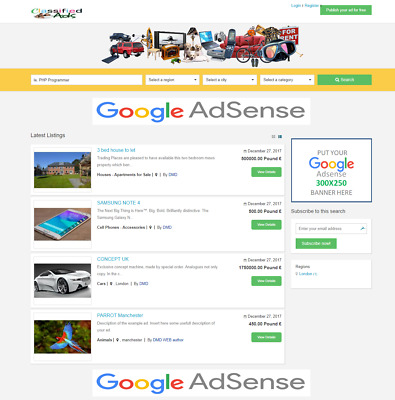 Classified Listings Website Online Business For Sale (Portal, Agency)