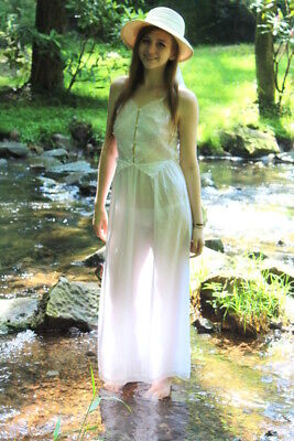 Vintage 60s 70s Iris Lingerie White EDWARDIAN Sheer Cut Out CROCHET Night Gown S