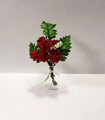 Miniature Red Roses in Glass Vase Dollhouse Diggs 1:12 Handmade Paper Ferns