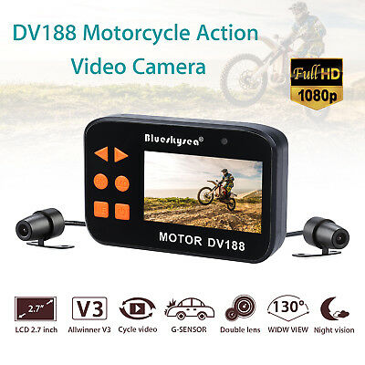 """1080p Motorcycle Twin Camera Motorbike Dual FHD Dash Cam Video Recorder 2.7"""" LCD"""