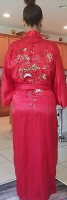 PEACOCK Brand 100% Silk Embroidered Red Floral Kimono Long Robe Gown Cover Up  M