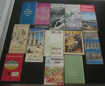 Mixed lot of 22 vintage Travel Brochures & maps 1950s 1960s Most are Europe