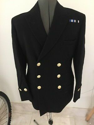 Navy Officers Black Blazer Jacket 38 R Formal  Gold Anchor Buttons RN Class 1
