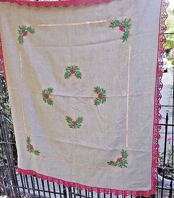 vintage tablecloth linen holly berry embroidery red crochet trim 52x58