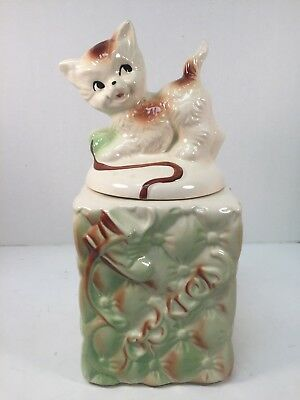 Vintage American Bisque Cookie Jar Cat Quilted Shoelace Shoe USA Kitten