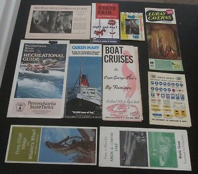 Mixed lot of 10 vintage Travel Brochures Booklets Maps all U.S. 1940s 1960s