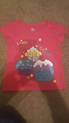 The Childrens Place Girls Pink Tshirt Happy Birthday Top Age 3T Uk 2 3
